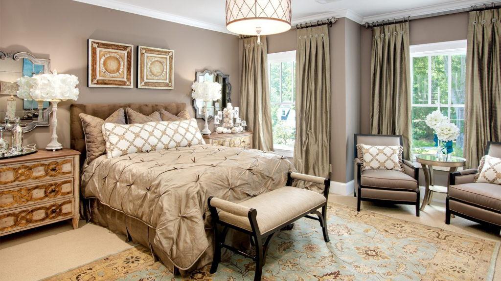 Обои цвета какао для роскошной спальни