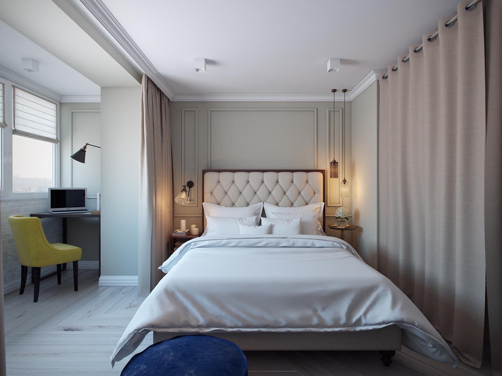 Различные светильники и свечи в интерьере спальни