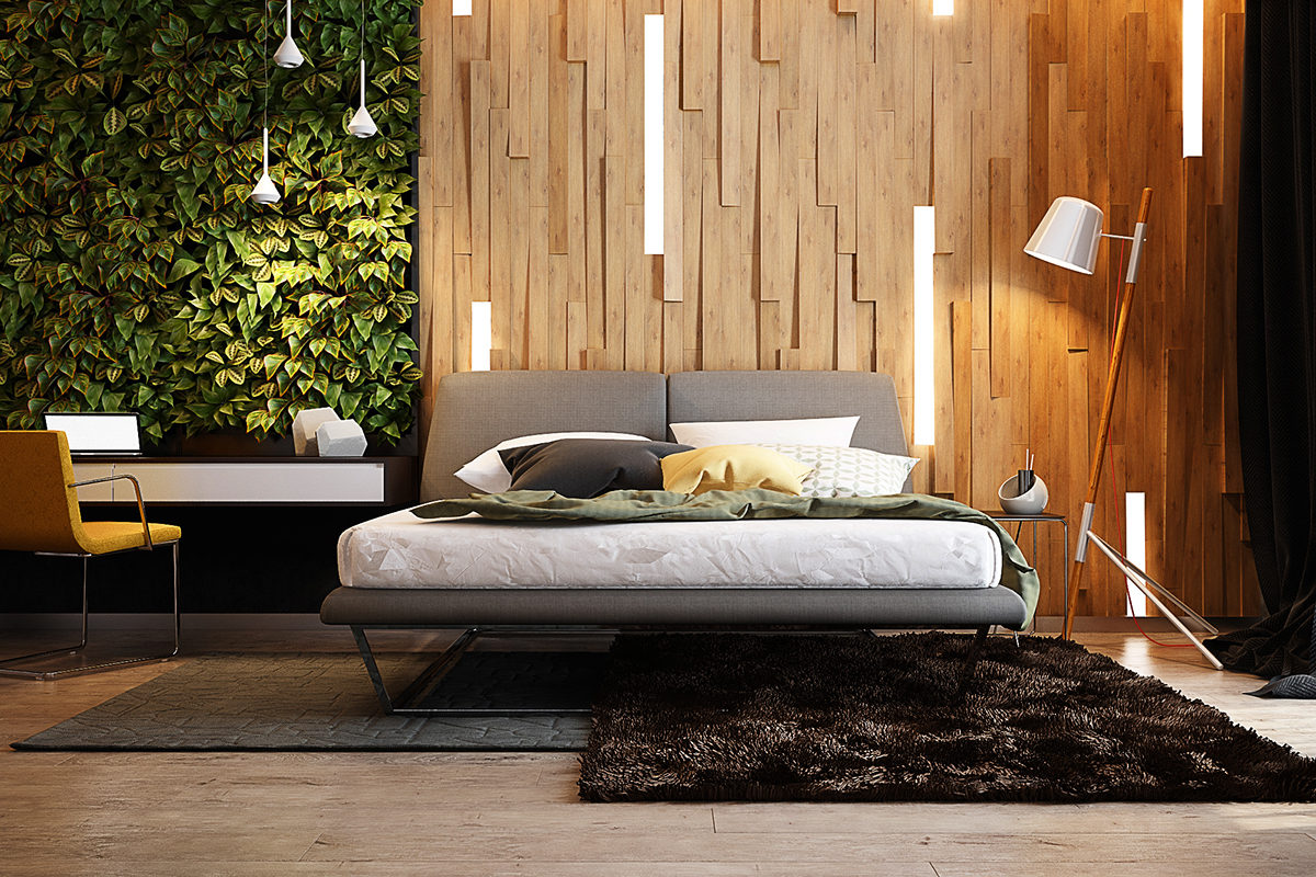 Встроенные в стену светильники в спальне