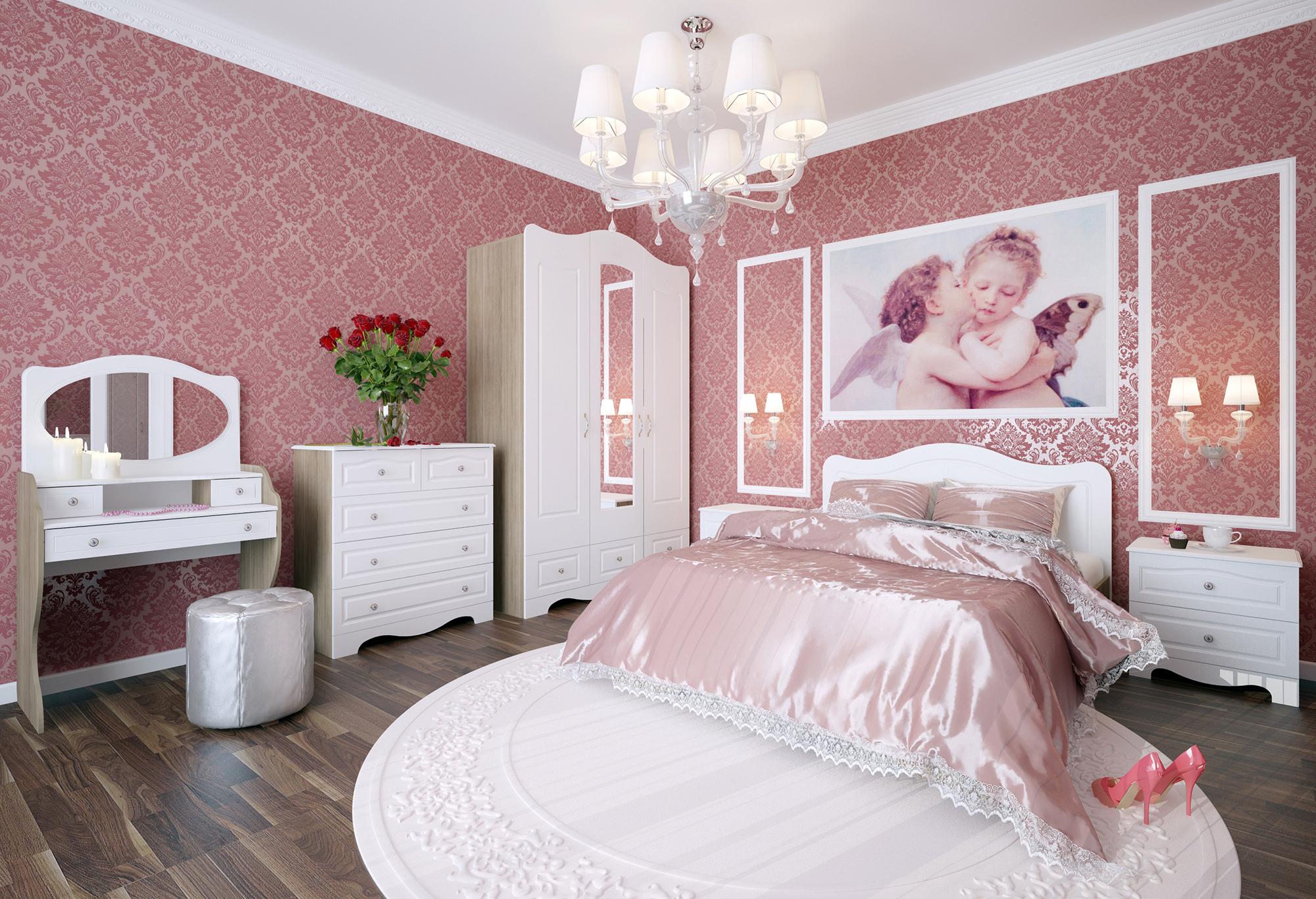 Красивая люстра в розовой спальне