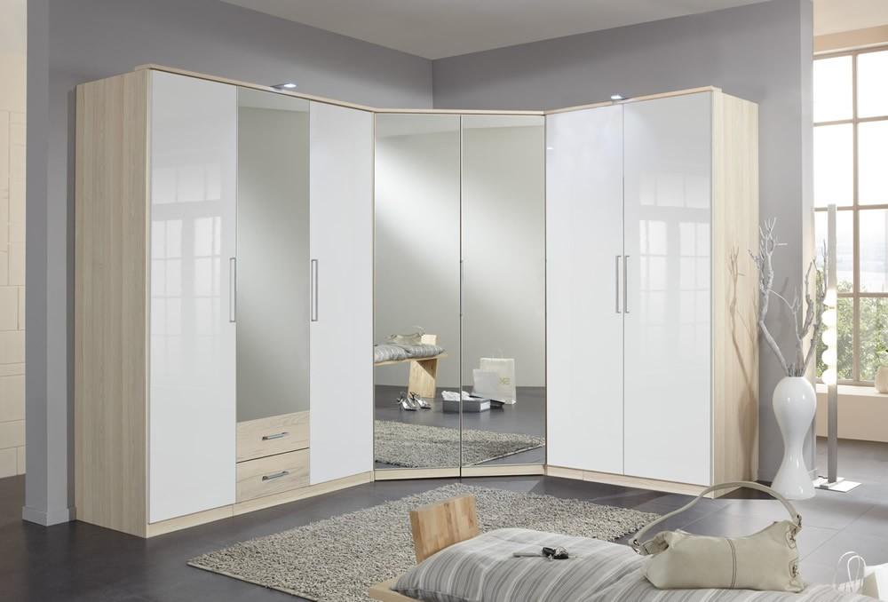 Бежево-белый угловой шкаф с зеркалами