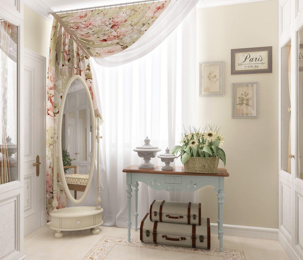 Прихожая с зеркалом и цветочными шторами в стиле прованс