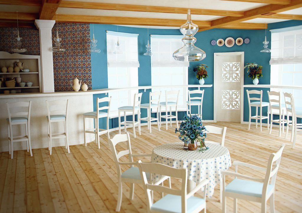 Кафе с яркими стенами в стиле прованс