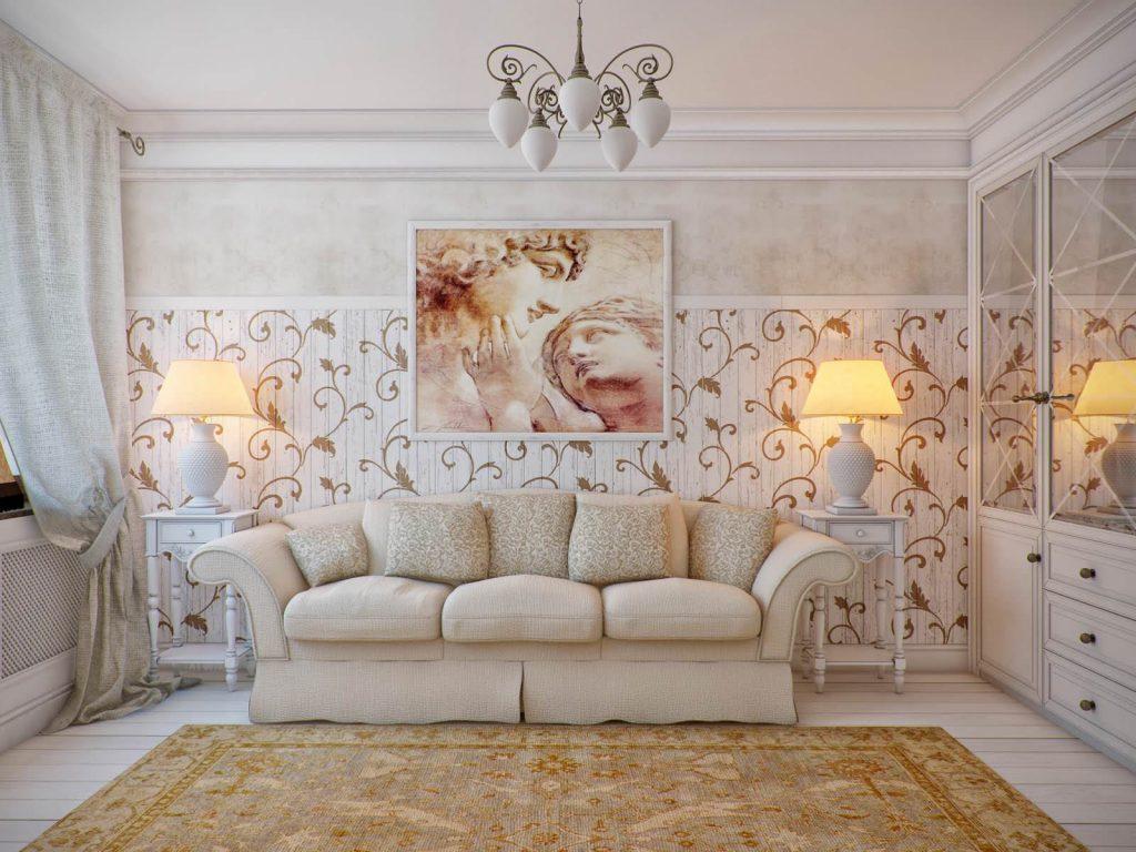 Гостиная с декоративными панелями в стиле прованс