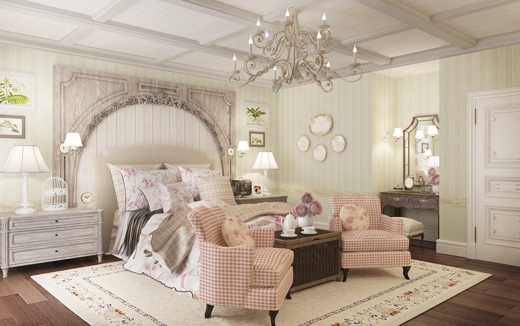 Большая фигурная люстра для спальни в стиле прованс