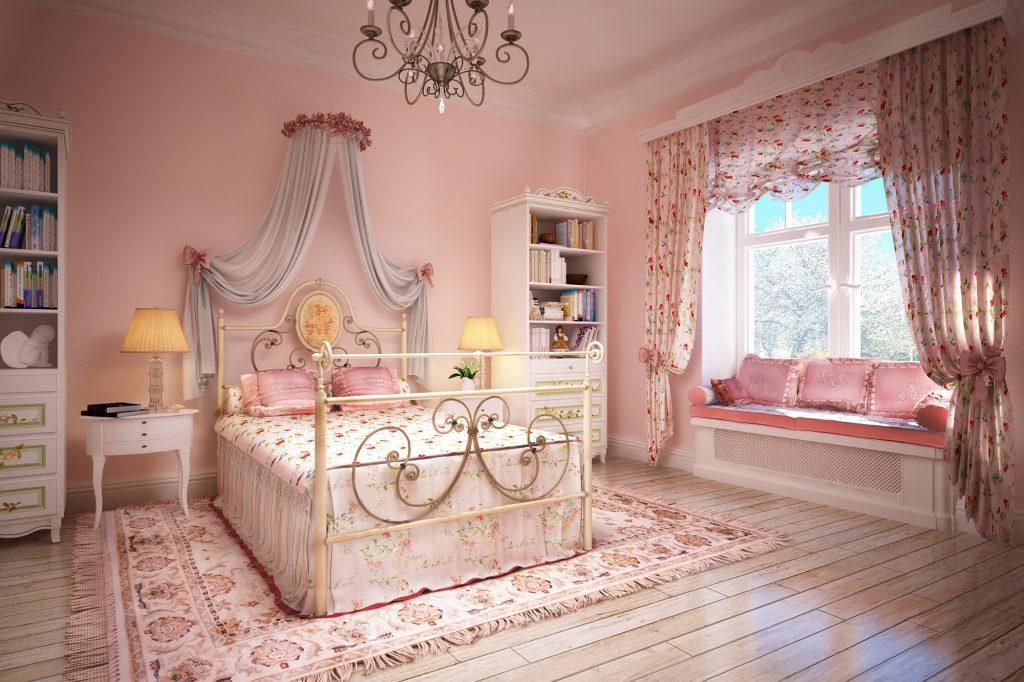 Цветочные шторы и однотонный балдахин в спальне в стиле прованс