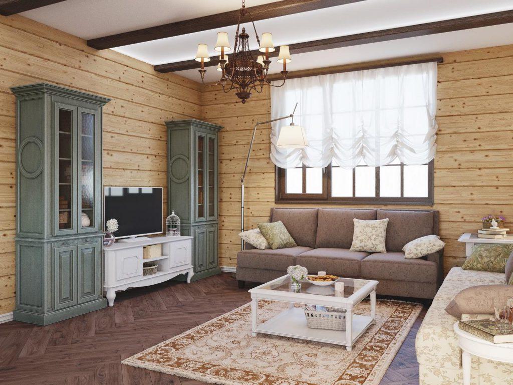 Деревянные стены и балки в прованском интерьере