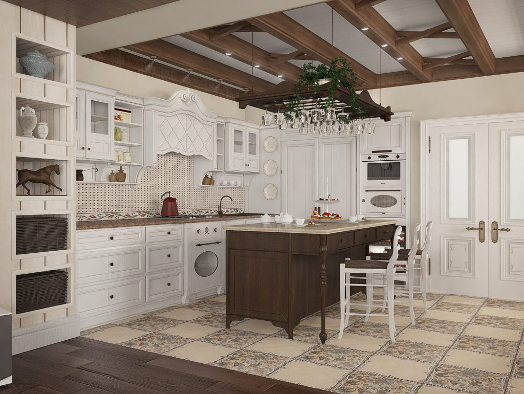 Плитка и бежевые обои на кухне в стиле прованс