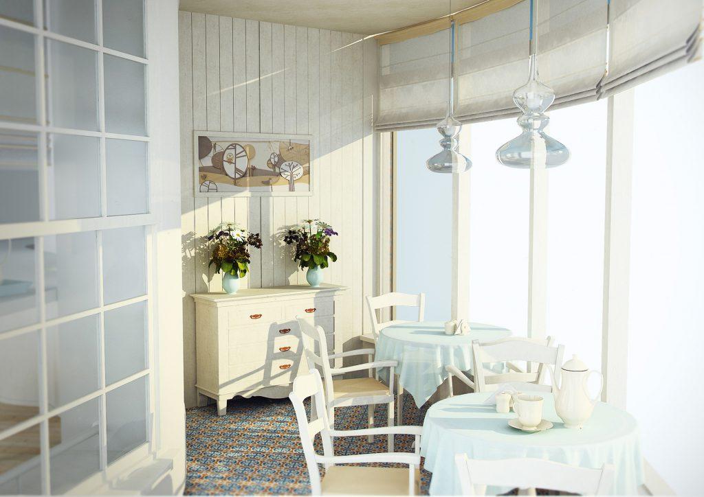 Ресторан с панорамным видом в стиле прованс