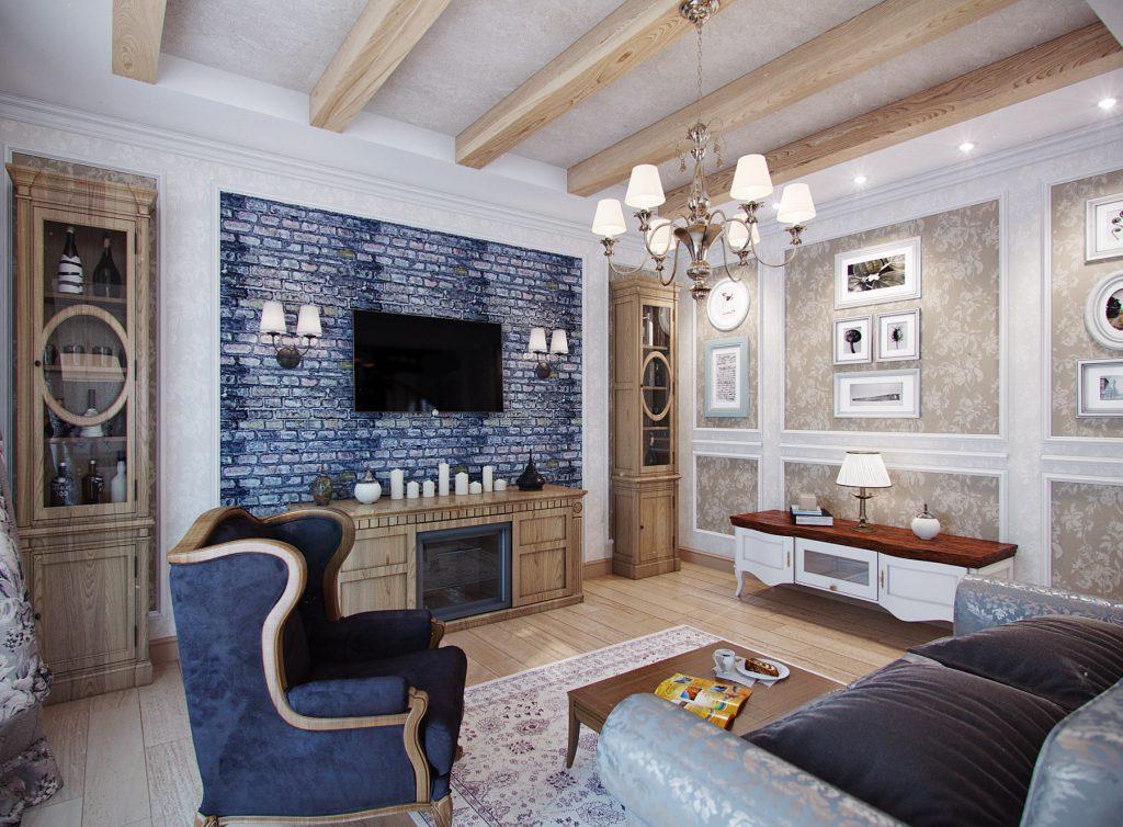 Свечи, настенные светильники и люстра в гостиной в стиле прованс