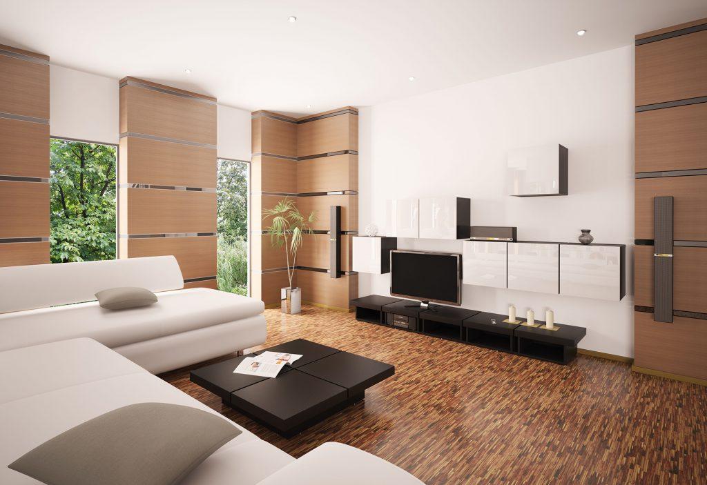 Телевизор в просторной и светлой бежево-коричневой гостиной