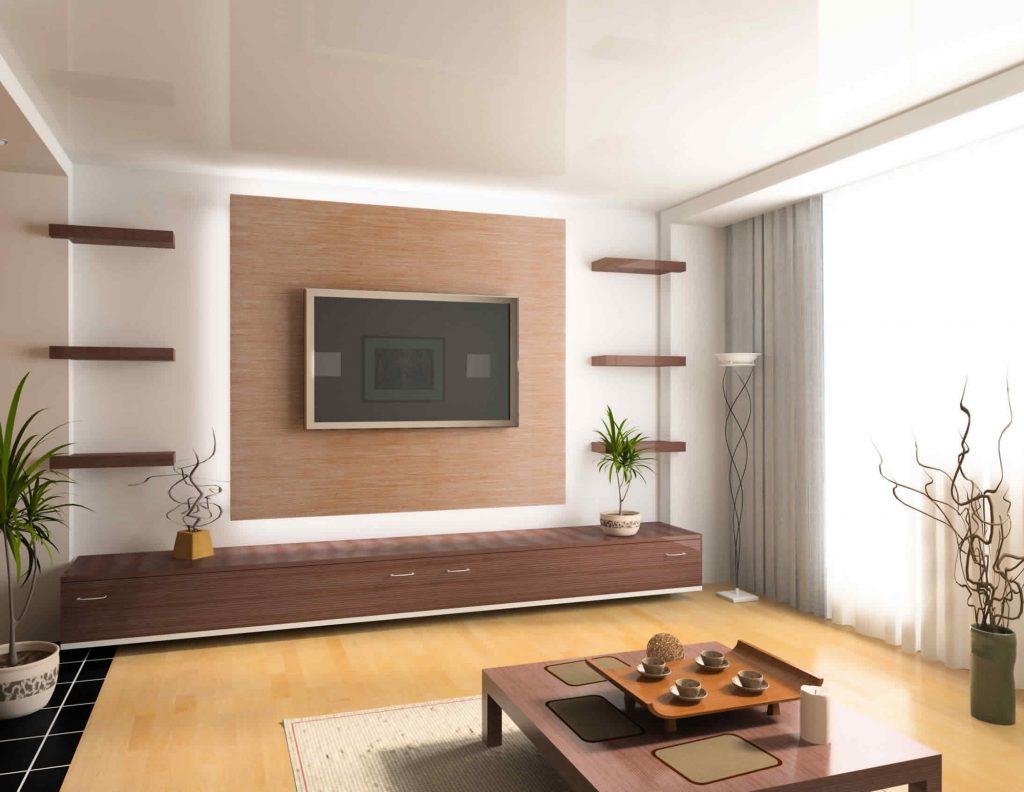 Телевизор в бежево-коричневой гостиной