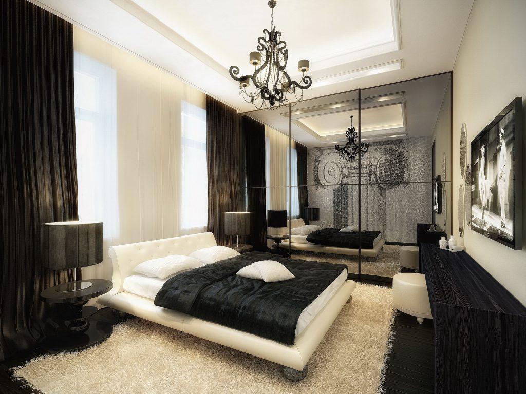 Телевизор в черно-белой спальне
