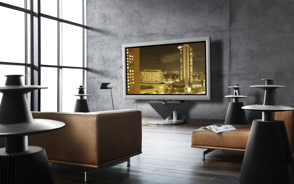 Телевизор в гостиной в минималистичном стиле