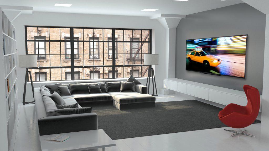 Телевизор в современной серо-белой гостиной
