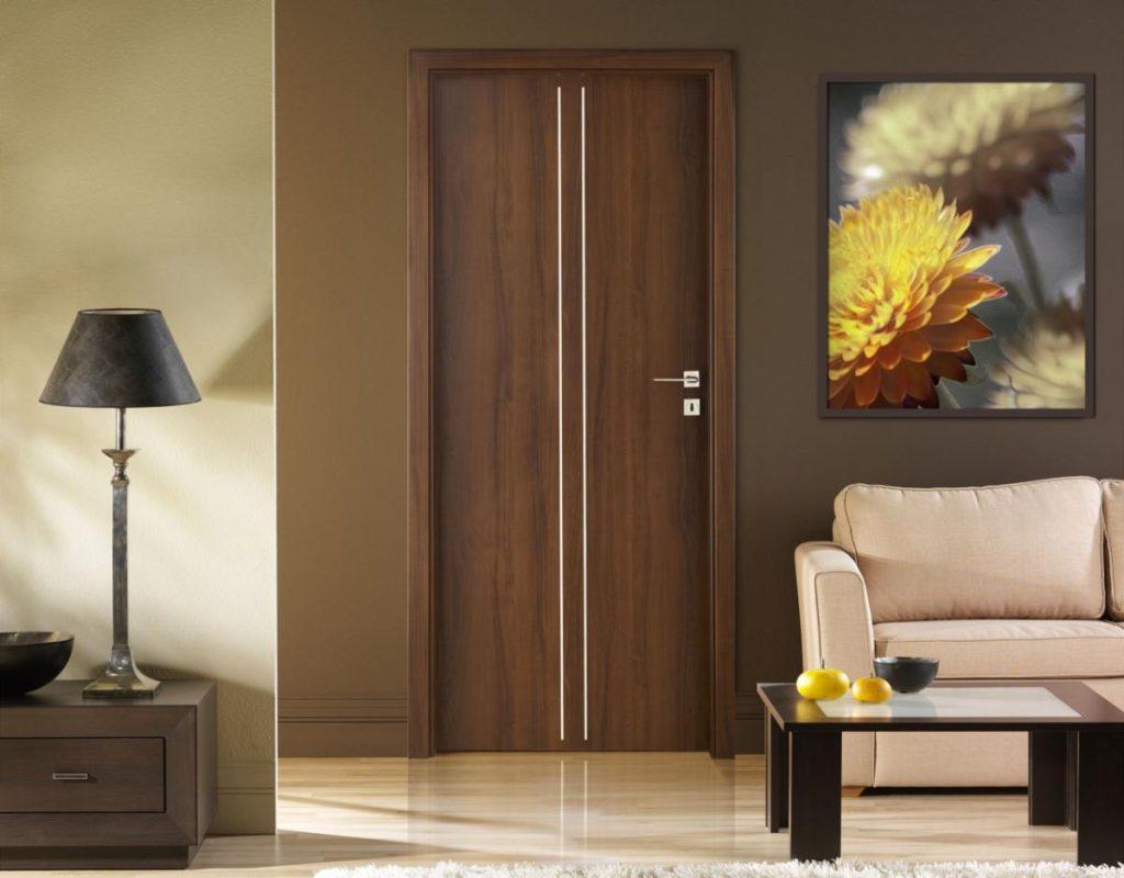 Коричневая дверь в гостиной
