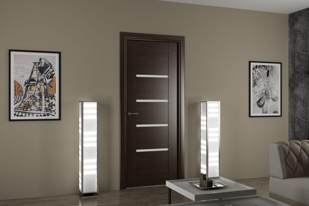 Темная дверь в интерьере комнаты в серых тонах