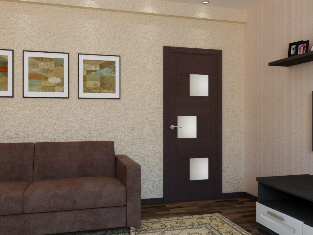 Темная межкомнатная дверь в гостиную