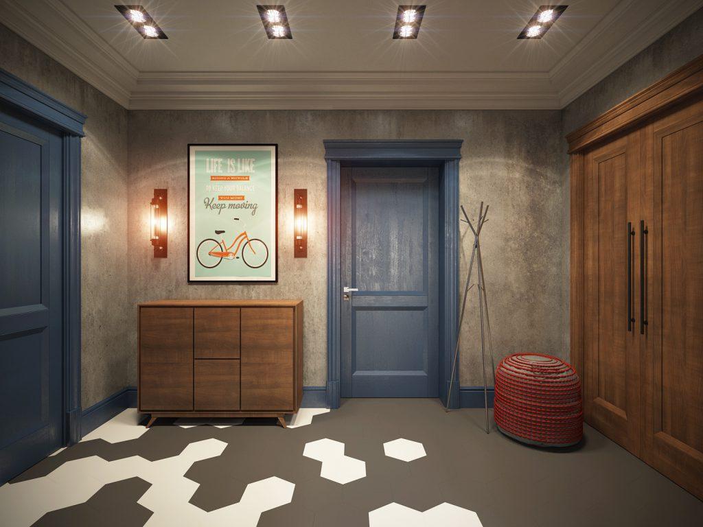 Синяя деревянная дверь в комнате