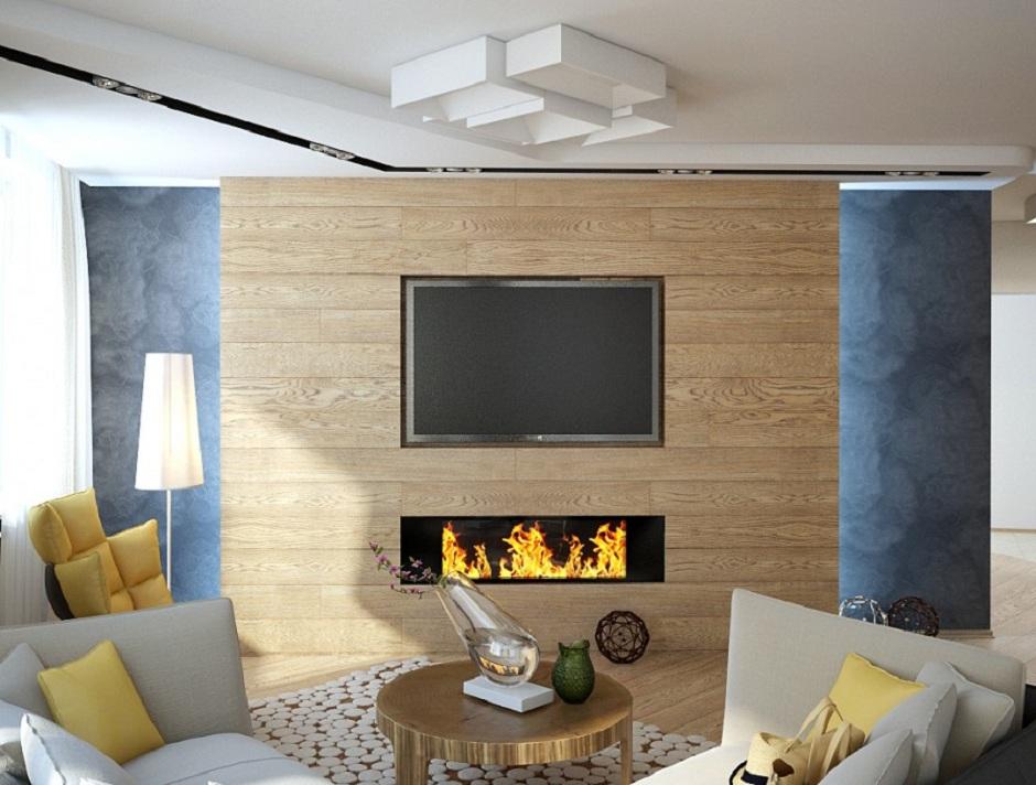 Уютная гостиная с встроенным телевизором