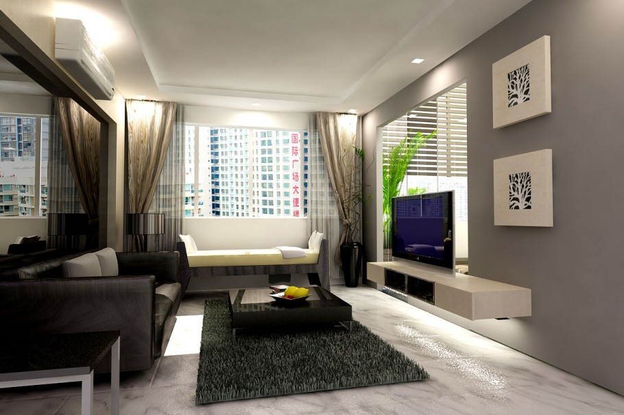 Маленькая гостиная в серых тонах с телевизором
