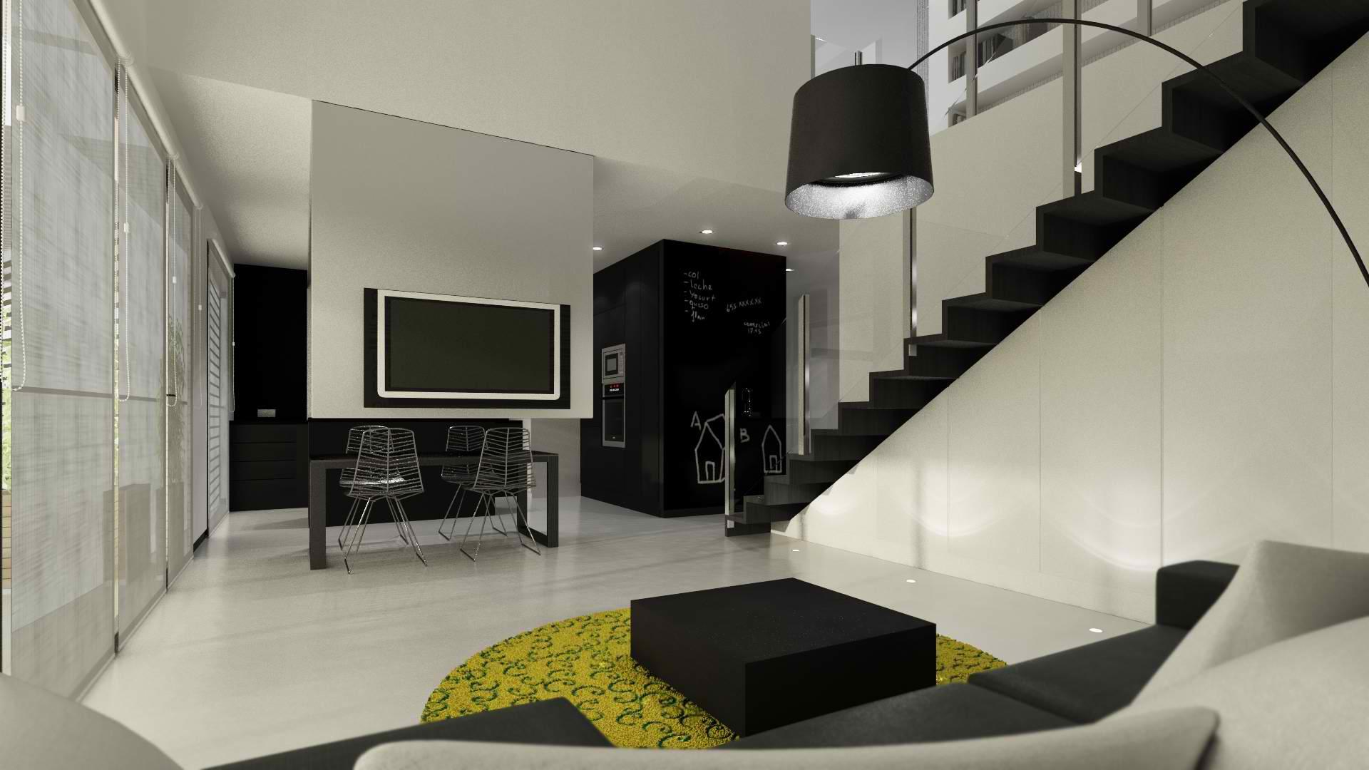 Телевизор в интерьере с лестницей
