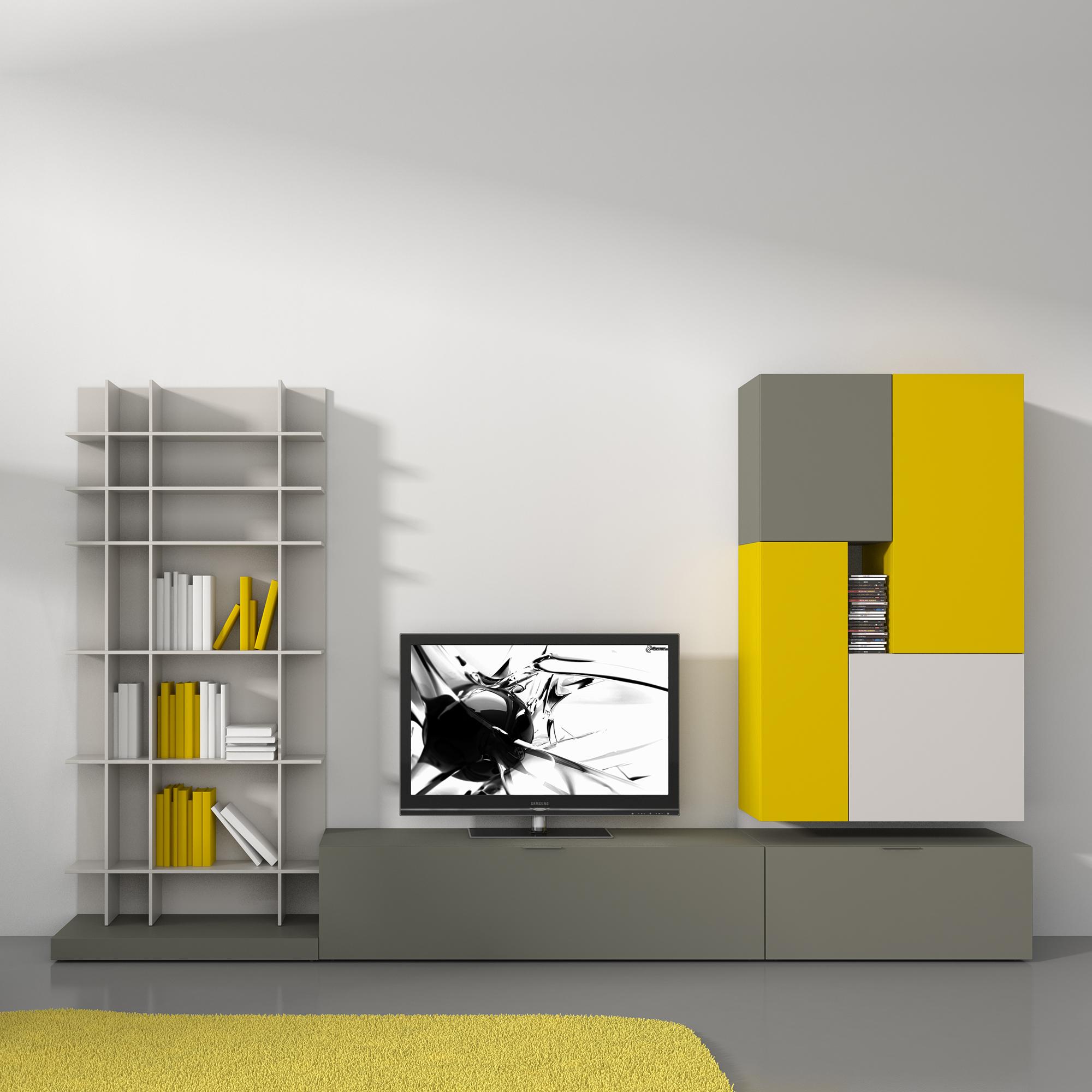 Желто-серая стенка для телевизора