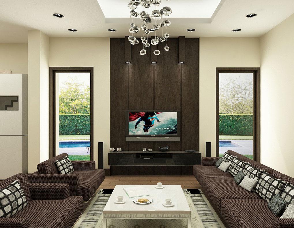 Интерьер гостиной с черным плоским телевизором