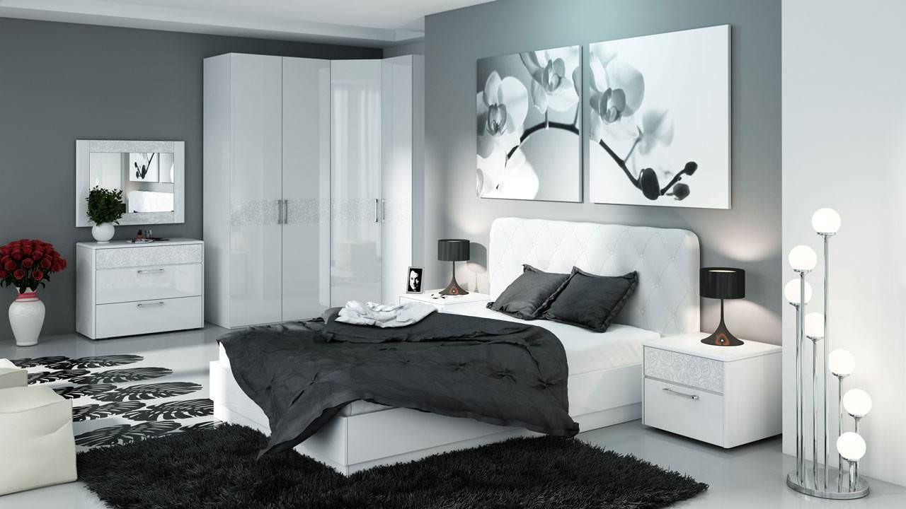 Угловой шкаф в интерьере спальни с узором