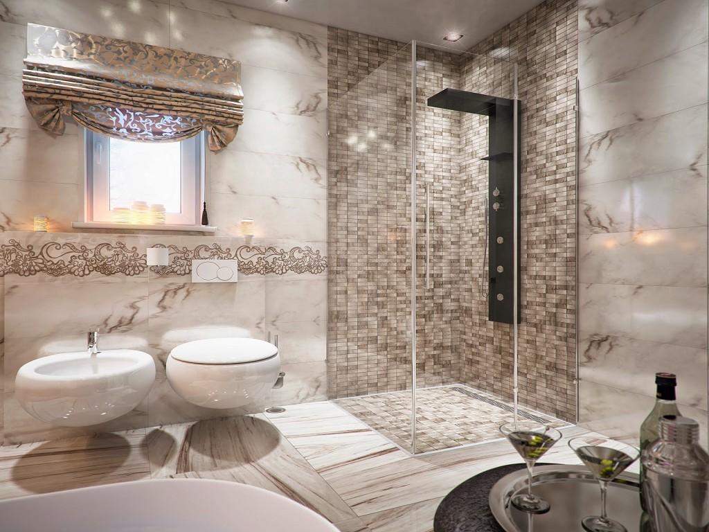 Душевая в углу классической ванной комнаты