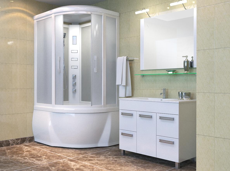 Белая  угловая душевая кабина в небольшой ванной комнате