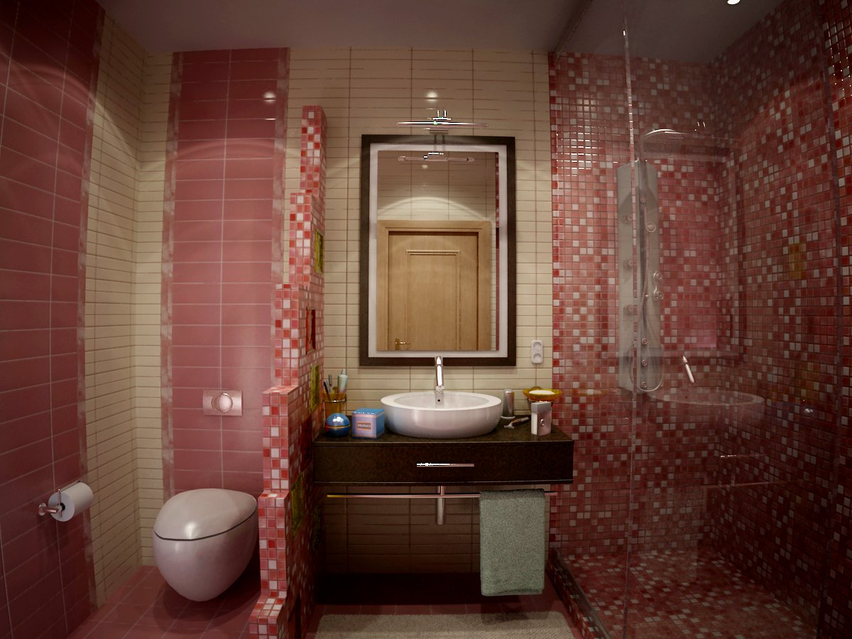 Душевая в бежево-красной ванной с мозаикой