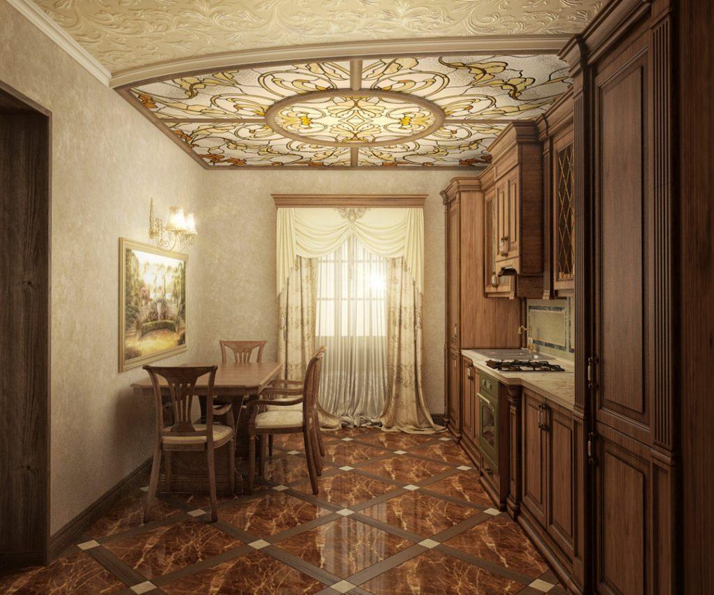 Витражный потолок на кухне