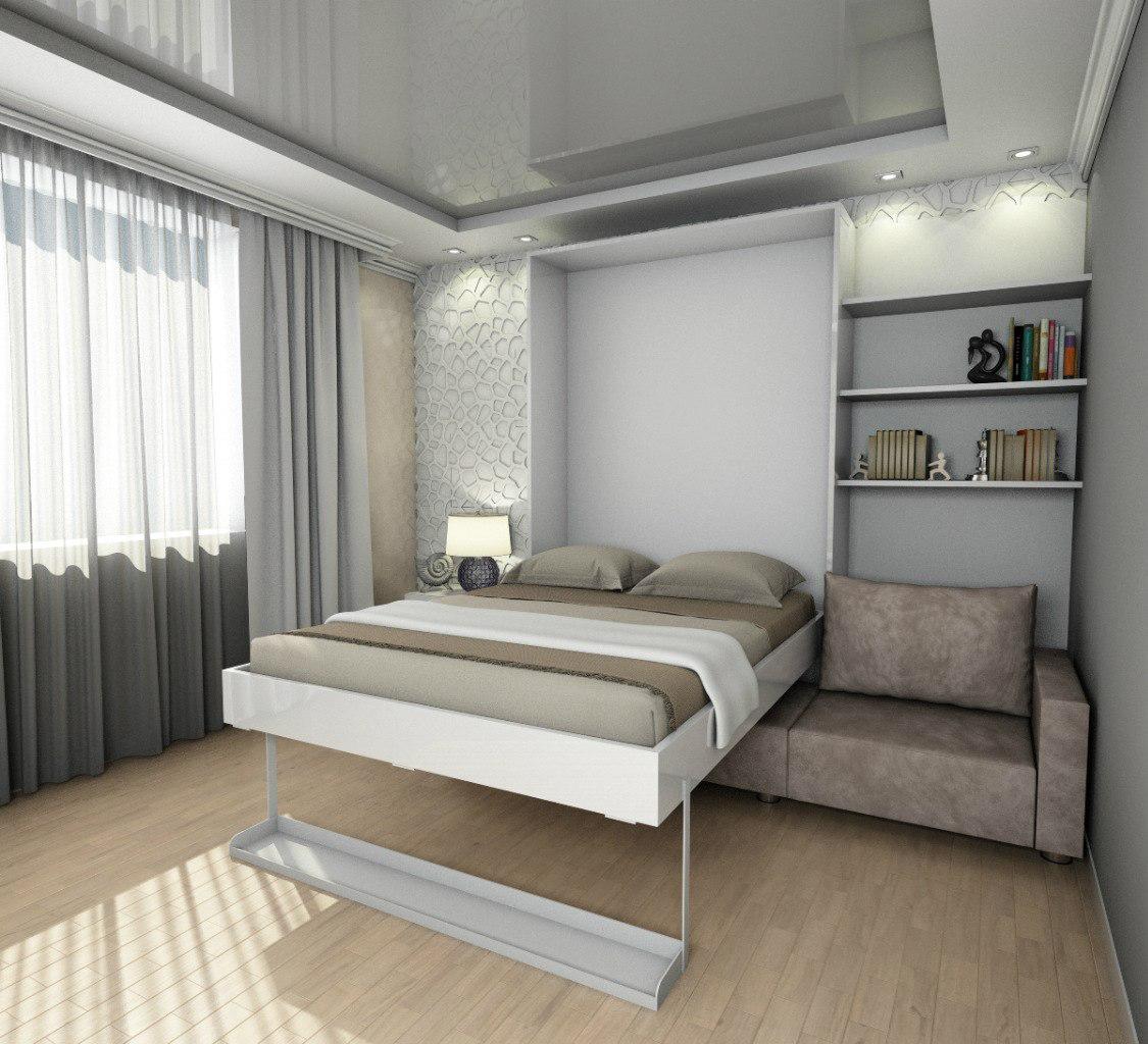 Откидная кровать-диван в спальне