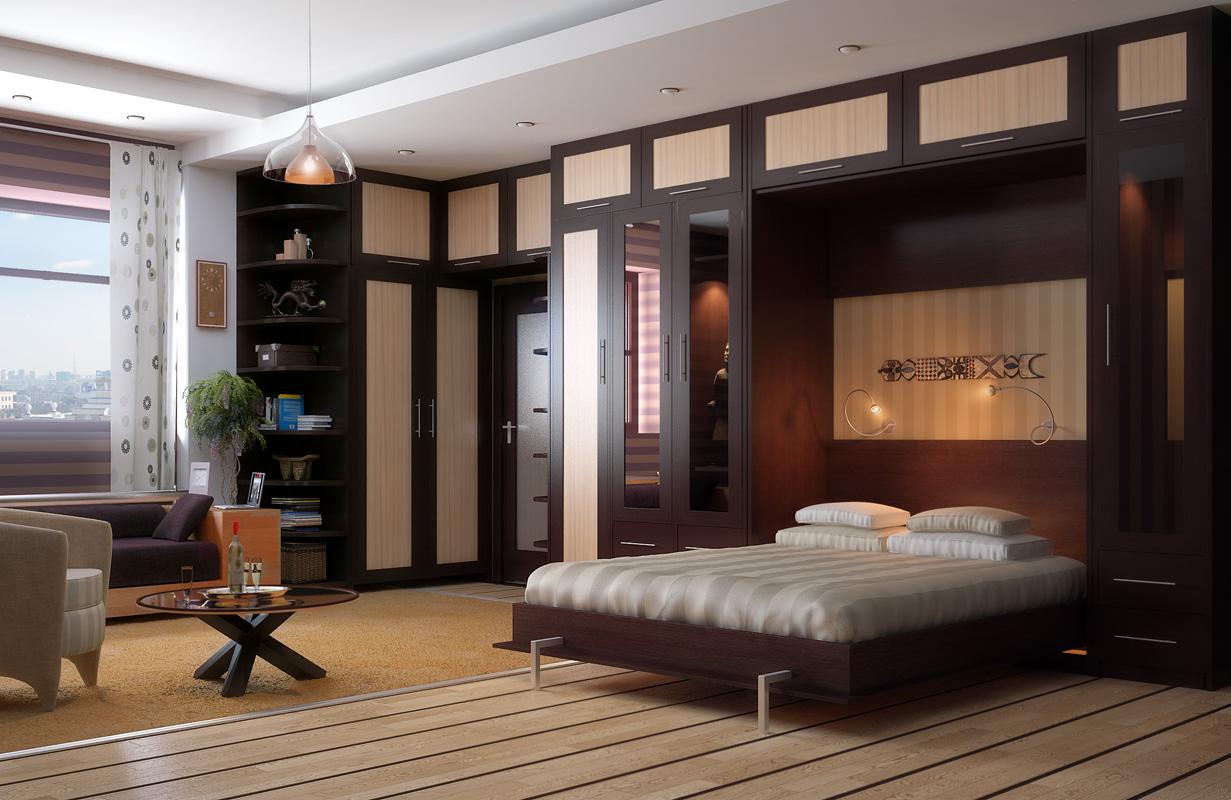 Встроенная кровать в большой комнате