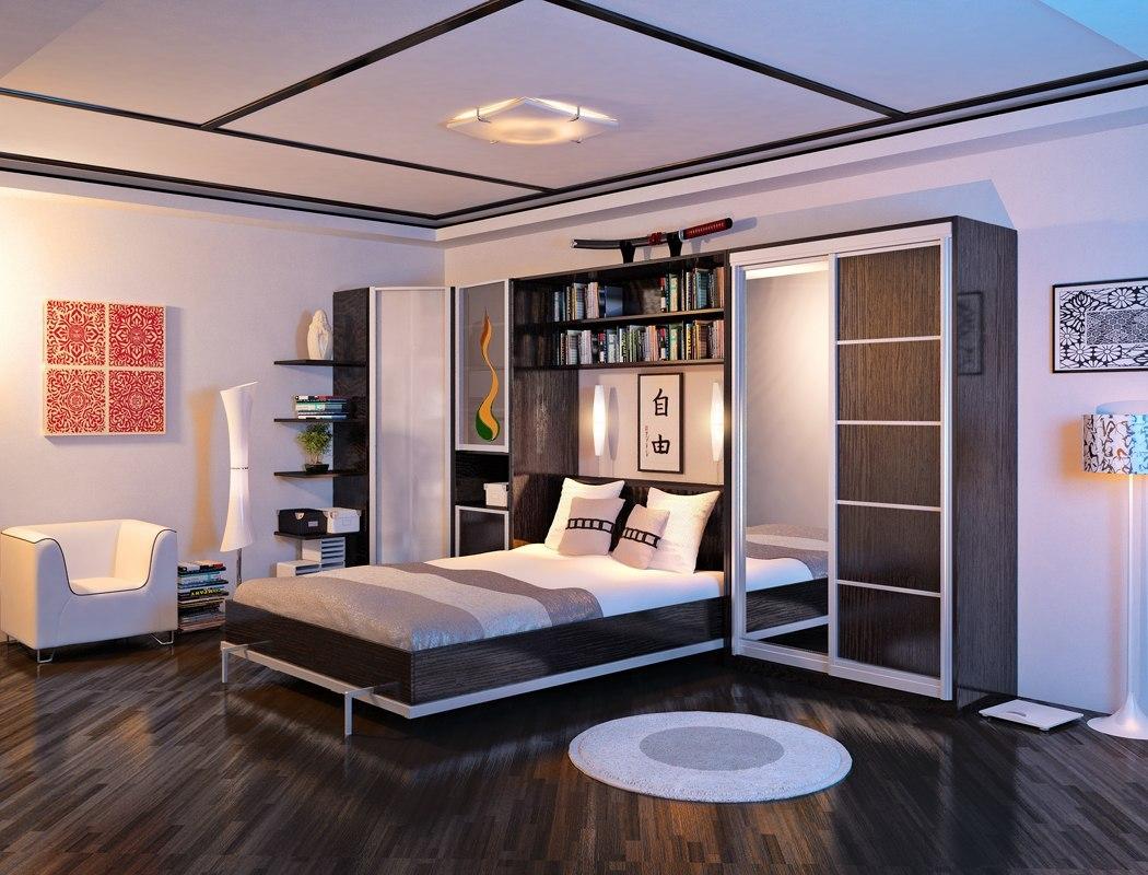 Кровать, встроенная в угловой шкаф