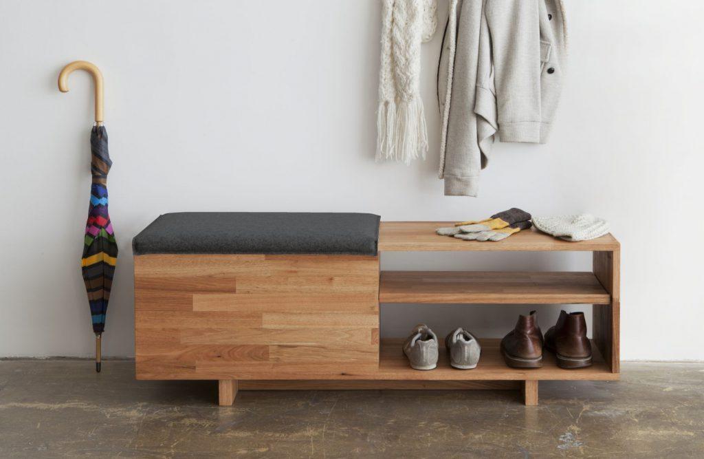 Функциональная скамейка с полками для хранения обуви