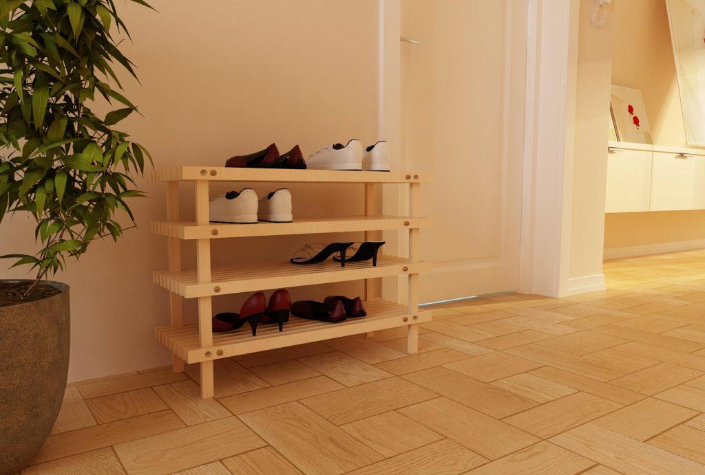 Деревянная полка для обуви для прихожей