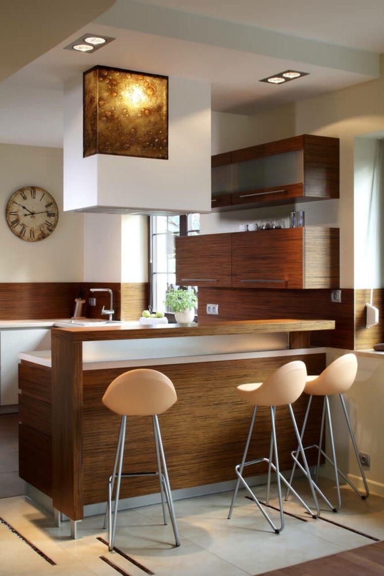 Дизайн кухни с барной стойкой зебрано