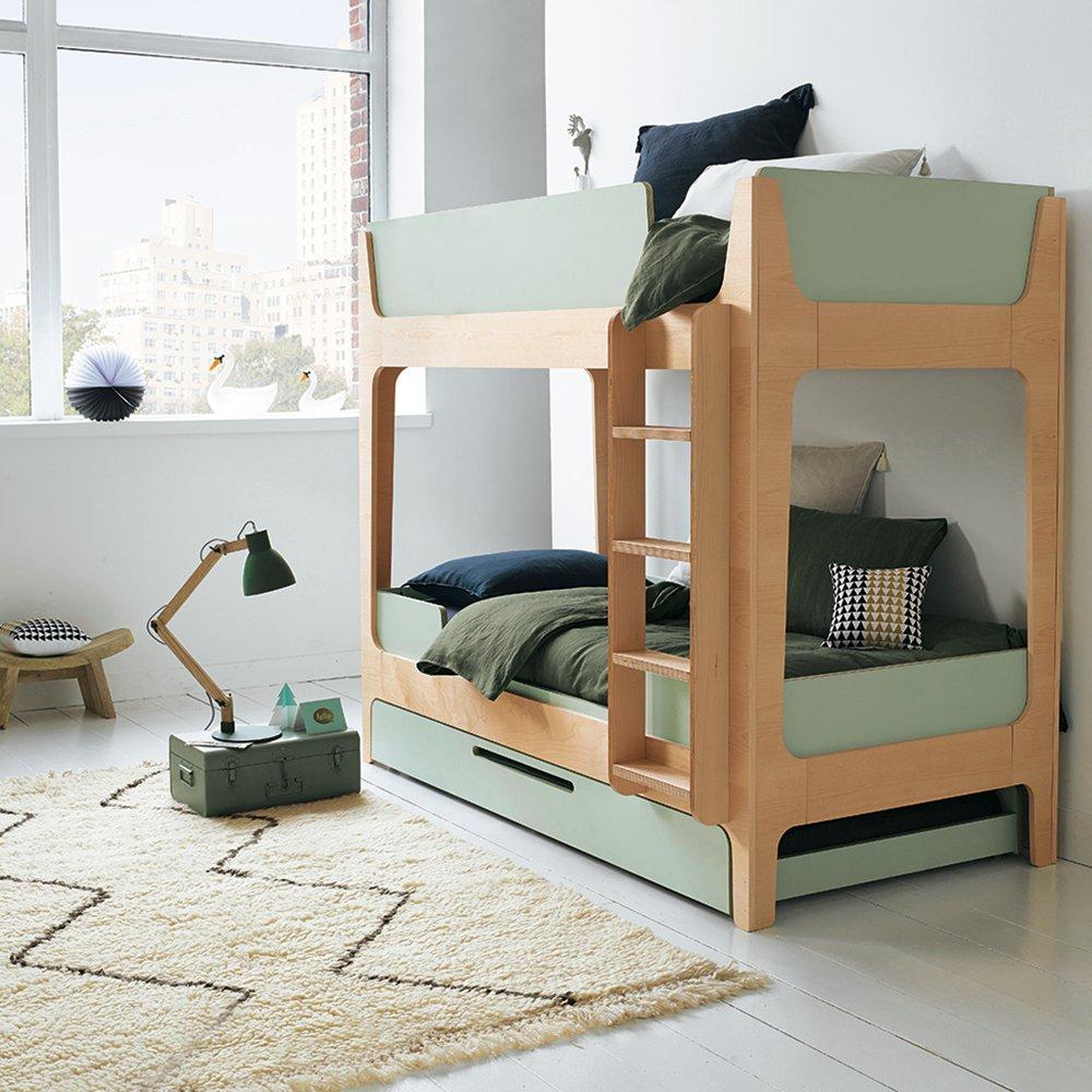 Двухъярусная детская кровать зеленая