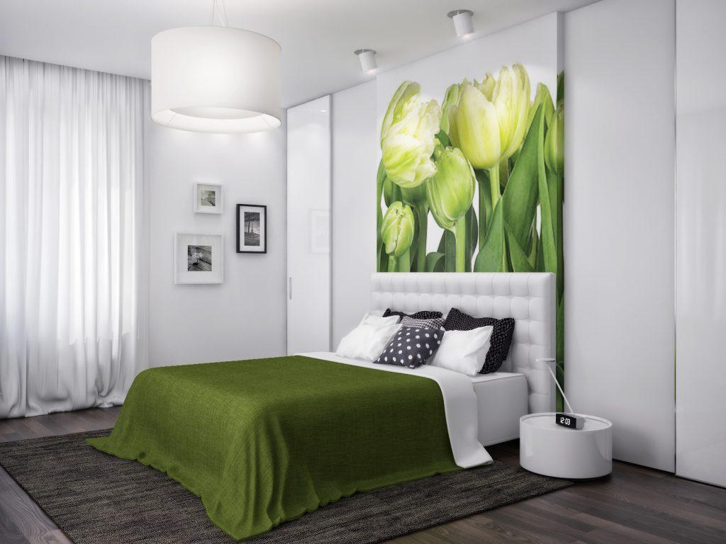 Сочетание зеленого и белого в спальне
