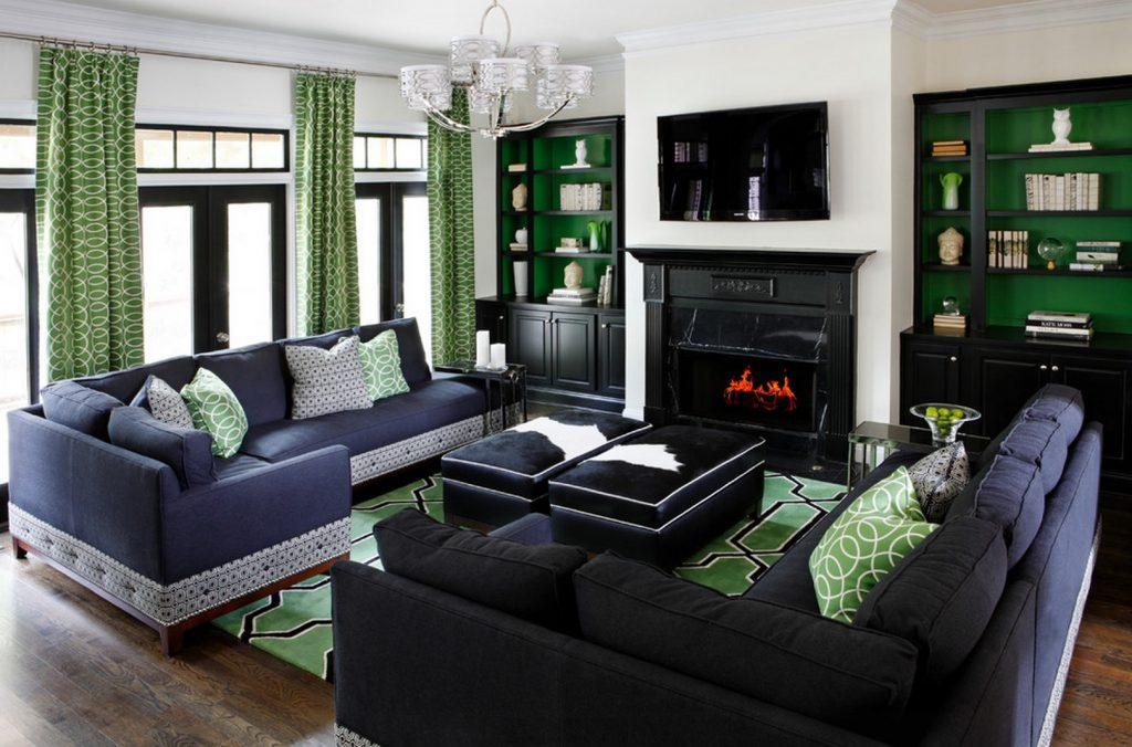 Контрастное сочетание зеленого и черного цветов в гостиной