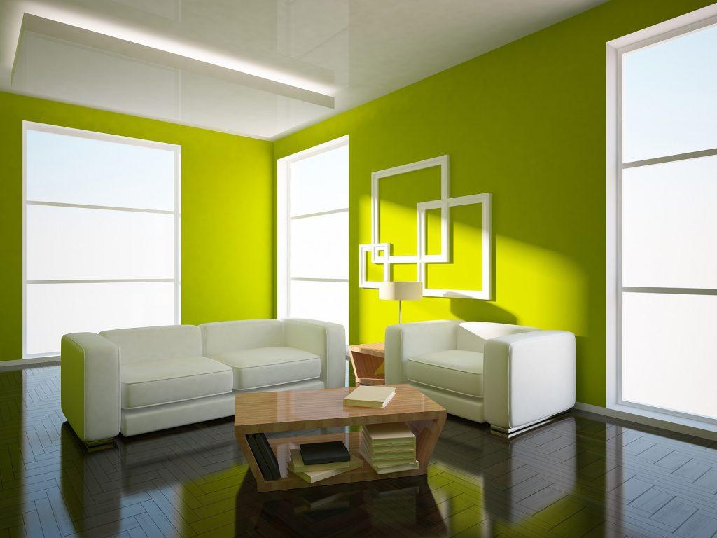 Яркий салатовый цвет добавляет жизнерадостности интерьеру гостиной