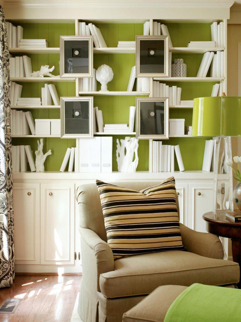 Стильного сочетание зеленого и белого в интерьере