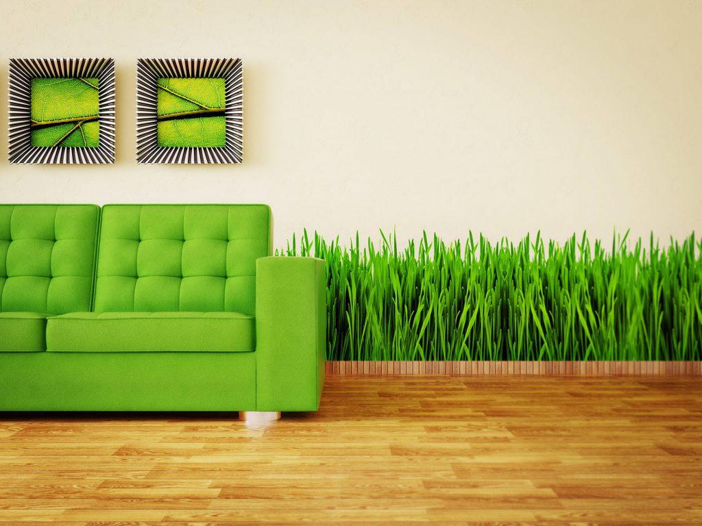 Красивое сочетание зеленого и коричневого в интерьере