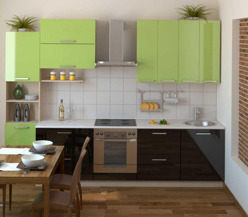 Сочетание коричневого и зеленого на кухне