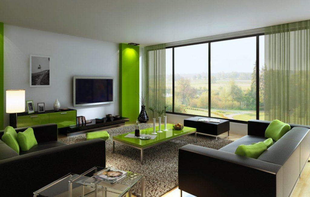 Сочетание черного и зеленого в гостиной