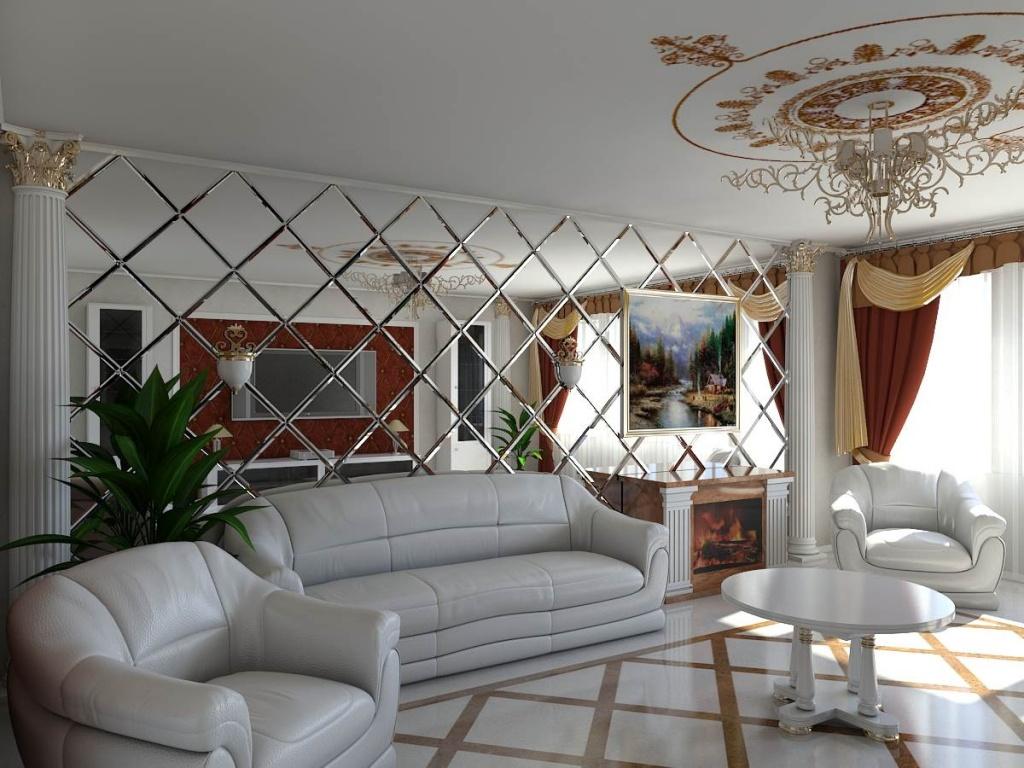 Зеркальная стена в классической гостиной