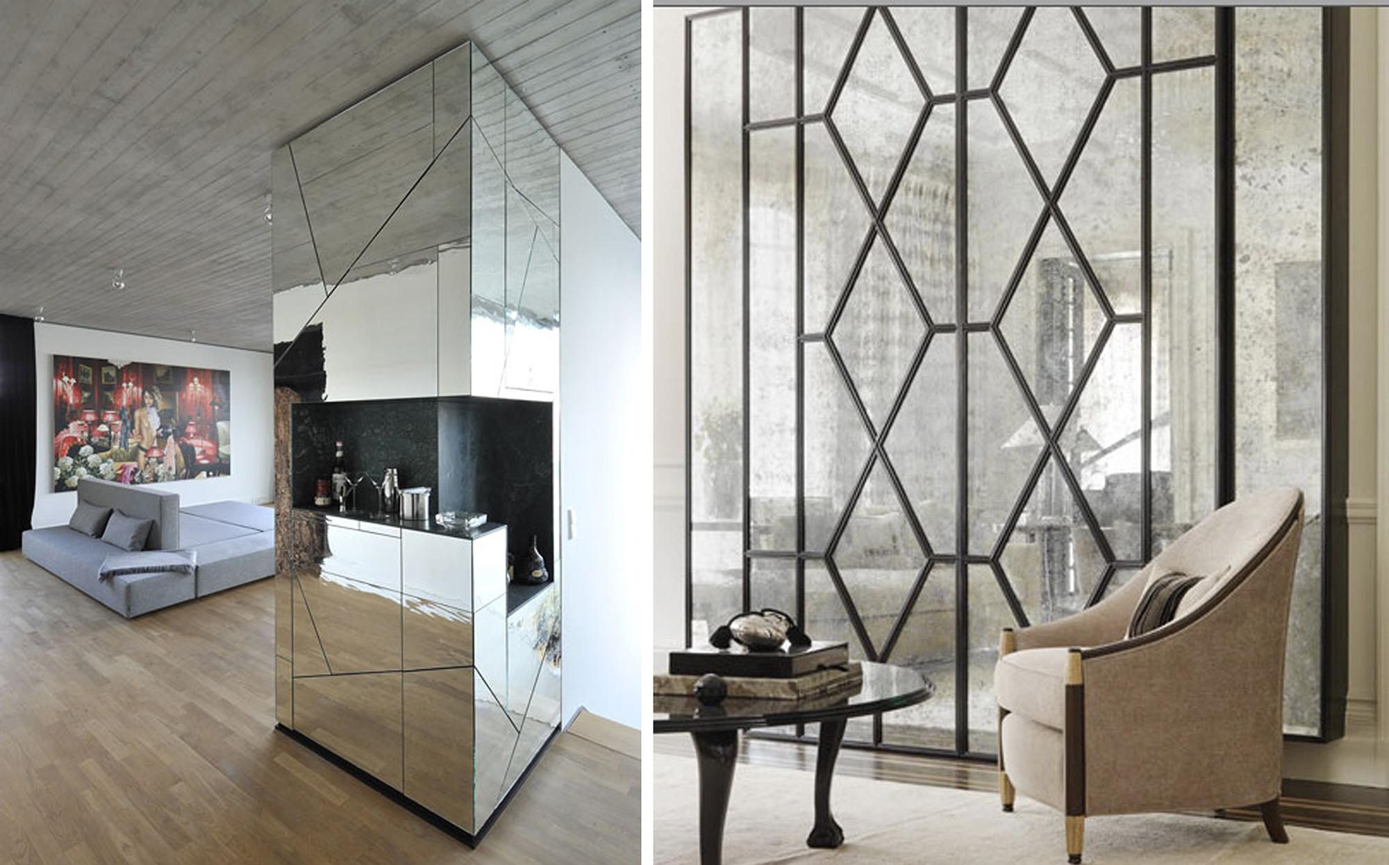 Варианты зеркальных стен в интерьере