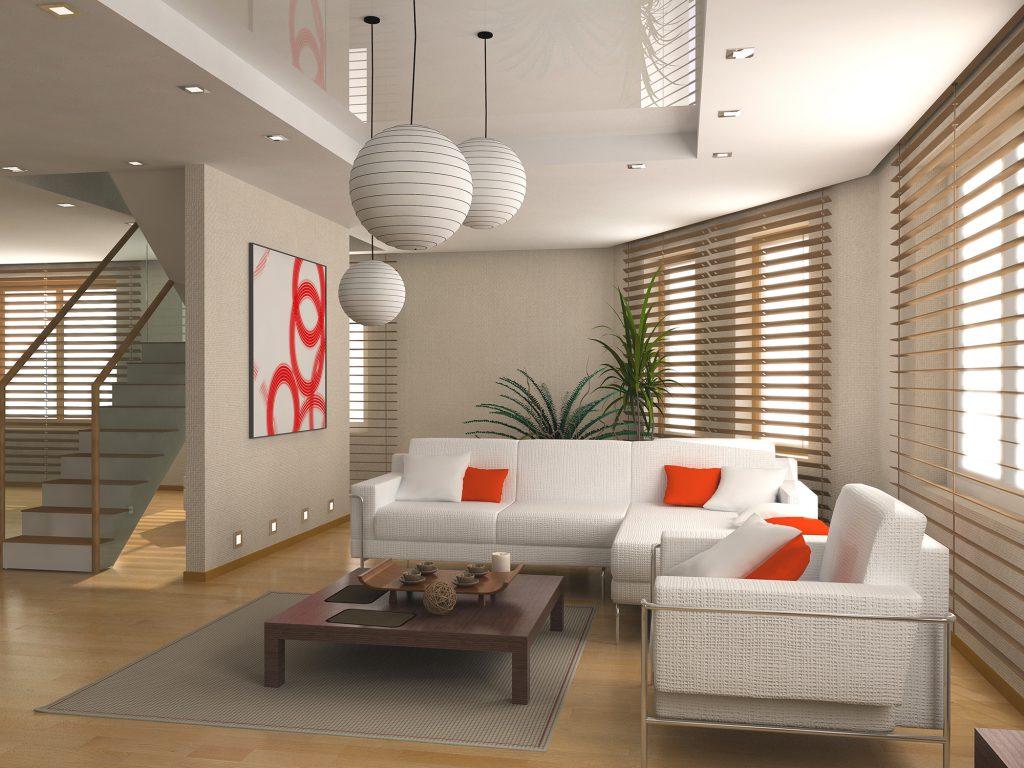 Коричневые жалюзи в интерьере квартиры